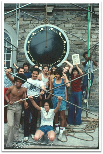 The first new clock face goes up, summer 1976. Current and longtime Sexton at St. Mark's, Jimmy Fragosa, is center-front. Courtesy Stephen Facey